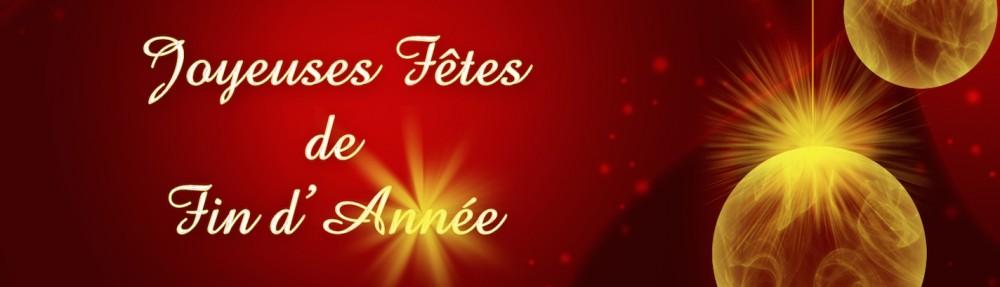 joyeuses fêtes de fin d'année , sur fond rouge et boules de noël dorée