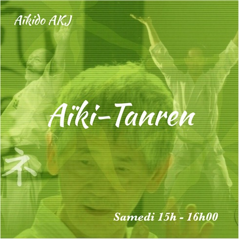 Aïki-Tanren, fond de la photo en couleur verte. On y voit Minoru Knetsuka, Hino Akira et Minoru Akuzawa.
